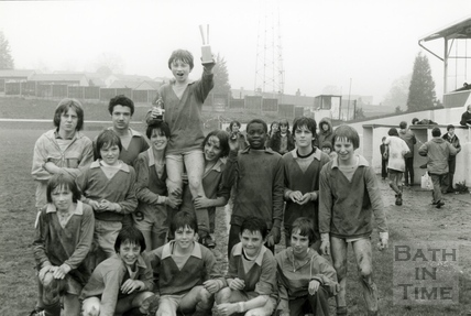 Percy Boy's under 14's reserves win the Sunday Youth Football League final at Twerton Park, April 1978