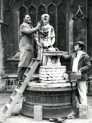 The Rebecca fountain outside the Abbey undergoing cleaning following vandalism, Dec 16 1967
