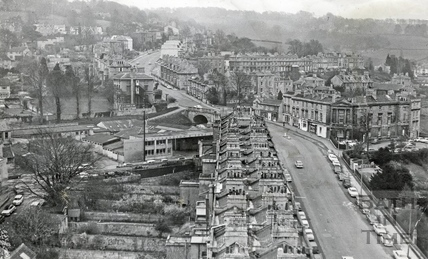 View up Bathwick Hill, Bath April 1971
