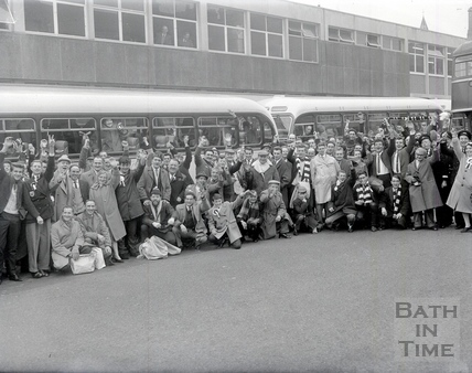 Bath City fans at the bus station, preparing to leave for Bolton, 8 January 1964