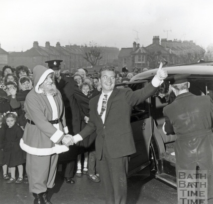 Coronation Street star Len Fairclough, actor Peter Adamson, opening the new Co-operative store in Oldfield Park, November 1962