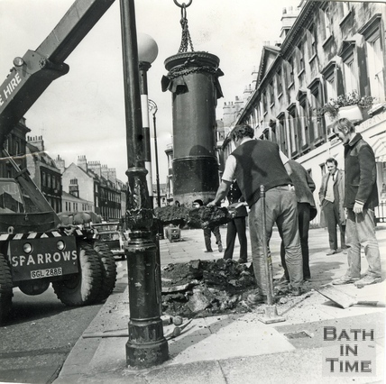 Workmen removing a post box from Milsom Street, 21 June 1971