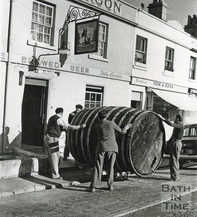 The giant barrel being delivered to the George & Dragon, Batheaston c.1960s