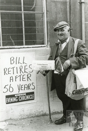 Bill Cottle, one of Bath's best-known paper sellers, c.1970