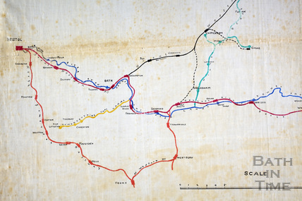Map of Canals and Railways in the Counties of Somerset, Wilts and Berks 1877 - detail