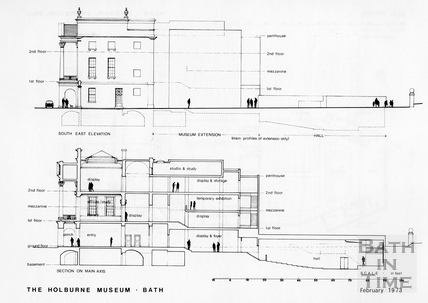 South East Elevation and Section on Main Axis of the proposed extension to the Holburne Museum, February 1973