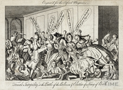 Female Intrepidity, or the Battle of the Belles, on ye Election of a King, Bath 1769