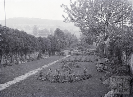 Back garden and view across valley from rear of Avon House, Batheaston c. 1920s