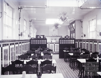Interior of the dining room for Lee's Fish and Oyster Bar, Saw Close, c.1930s