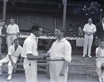 Handshakes after a cricket match? c.1950s?