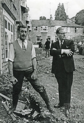 Ted Brown at Montrose Cottages, Lower Weston after the flooding 12 July 1968
