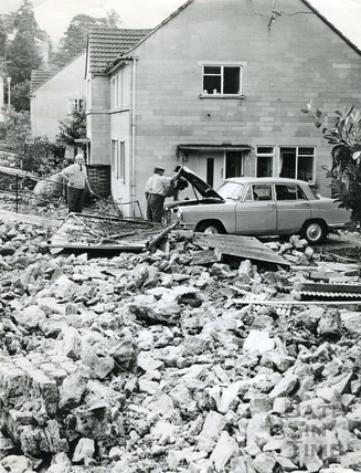 The aftermath of floods in Weston 1968