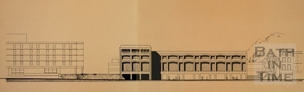 Roadside elevation of the Podium Site showing proposed Library Building on Walcot Street, 1976