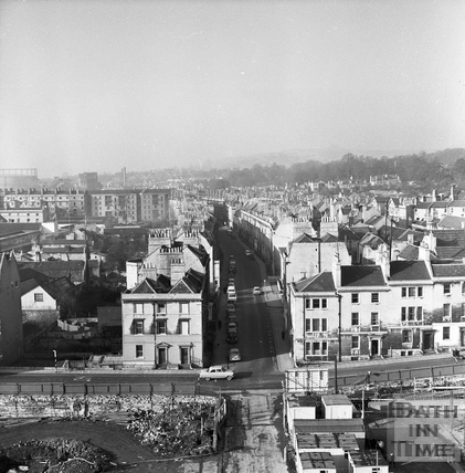 View from a tower crane looking East down New Kings Street station 25 Feb 1964