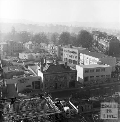 View from a tower crane of Green Park Road looking South West, 25 Feb 1964