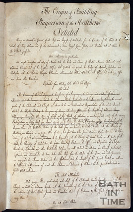The first page of the manuscript for The Origin of Building by John Wood Senior, pub 1741