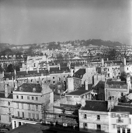 View from a tower crane towards Queen square (North East) 25 Feb 1964