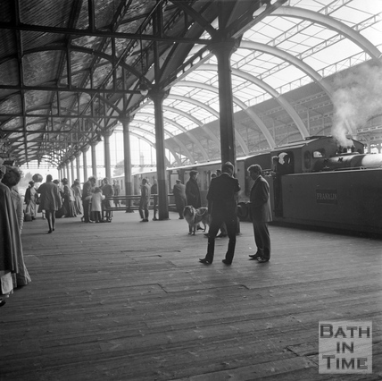 A scene is recreated on the platform at Green Park station c.1960s