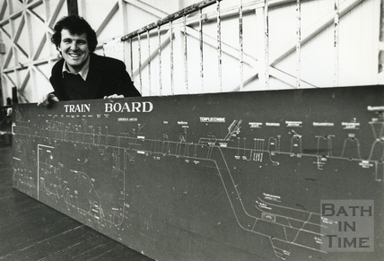 Railway enthusiast Simon Castens poses with a Train Board from the Somerset & Dorset joint railway, 4 Jan 1993