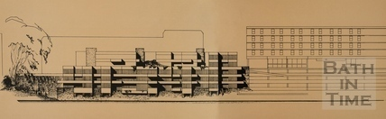 Riverside elevation of the Podium Site showing proposed residential accommodation, 1976