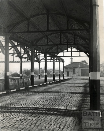 Empty railway sheds at Green Park Station, c.1968