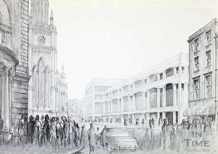 Artists impression of the proposed new library building on the Podium Site, 1976