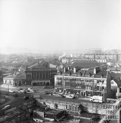 View from a tower crane of Green Park station, looking West 25 Feb 1964