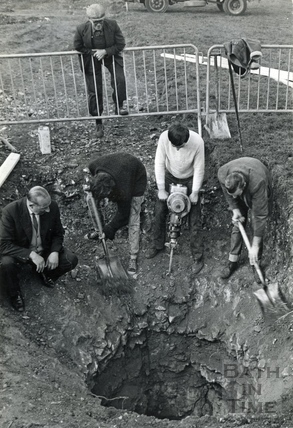 Investigating a mysterious hole, The Firs, Combe Down, c.1960s