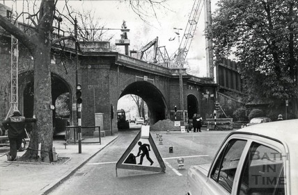 The railway bridge over Pulteney Street being prepared for conversion 8 April 1974