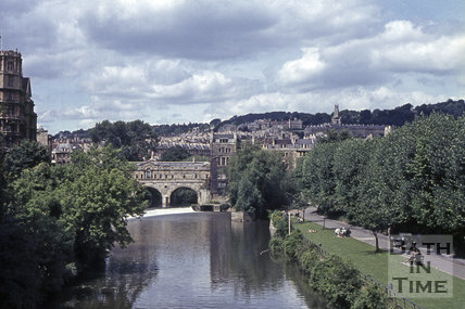 View of Pulteney Bridge from North Parade Bridge, 1965
