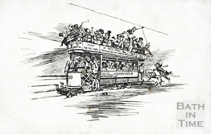 Cartoon view of a Bath Tram 1905