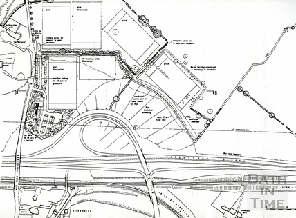 Plan of the proposed A46 / A36 link road junction and rugby training ground development, Oct 1989
