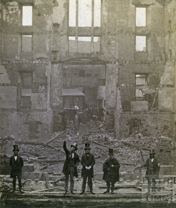 Theatre Royal, Sawclose, after the fire in 1862