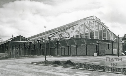 The restored train shed and rear view of Green park station, April 1982