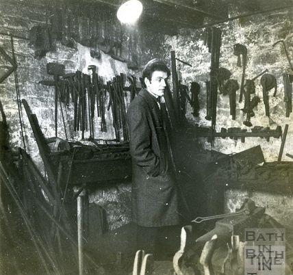 Russell Frears inside the forge at Bowlers, Corn Street, 24 April 1972