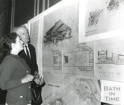 Inspecting development plans for Green Park Station, 3 June 1974