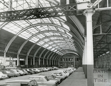 The canopy at Green Park station, used as a car park, 28 July 1980