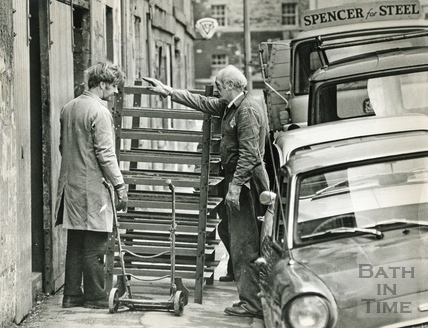 Steel racking being delivered to Bowlers, Corn Street, 23 March 1970