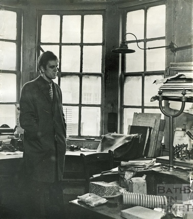 Russell Frears inside a gas lit office at Bowlers, Corn Street, 24 April 1972