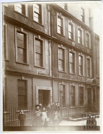 Children posing outside 16, Trim Street, Bath c.1903