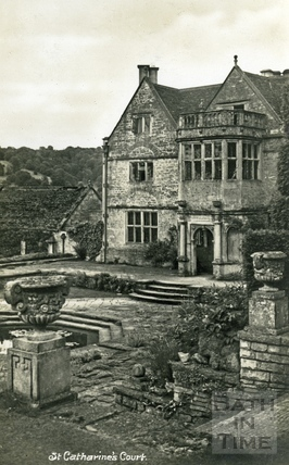 St Catherine's Court, north-west main entrance from the west, with terrace c.1930s