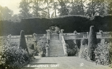 St Catherine's Court, looking beyond the terrace to the south west c.1905