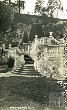 St Catherine's Court, steps to the side of the south west terrace c.1930s