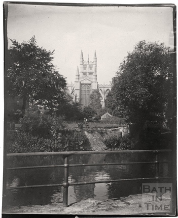 The Abbey and Parade Gardens, viewed from across the Rover Avon c.1900