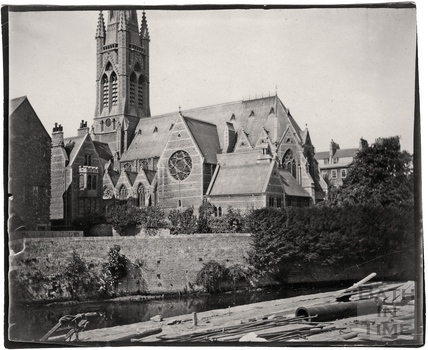 St John the Evangelist, South Parade, viewed from across the River Avon c.1900