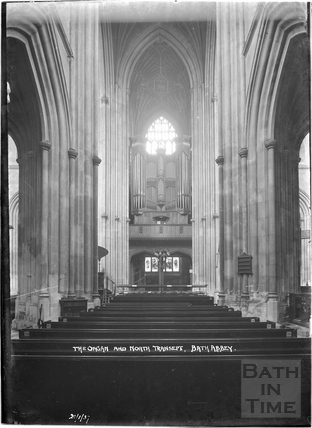 The organ and north transept, Abbey Interior 21 Jan 1937