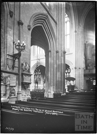 Looking toward the tomb of Bishop Montague from the south transept, Abbey Interior 21 Jan 1937
