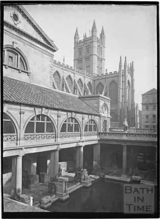 The Roman Baths with the Abbey in the background c.1934