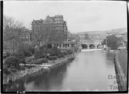 View from North Parade Bridge of the Empire Hotel and Pulteney Bridge 5 April 1923
