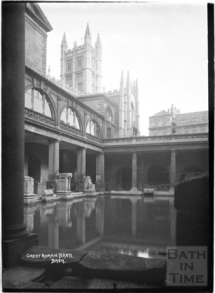 The Great Roman Bath with the Abbey in the background c.1934